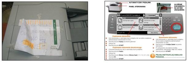 Rys. 3. Instrukcja użytkowania drukarki przed i po udoskonaleniu