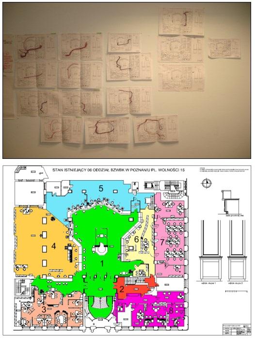 """Rys. 4. Diagramy spaghetti procesów oddziałowych """"przed"""" oraz podział stref obsługi po optymalizacji"""