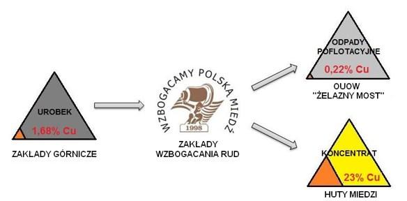 Rys. 1. Umiejscowienie O/ZWR w ciągu technologicznym KGHM Polska Miedź S.A.